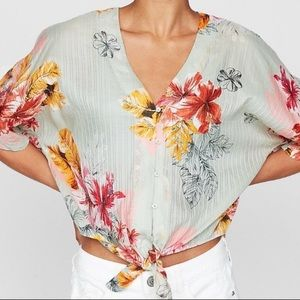 Express Floral Button Up Tie Front Crop Top